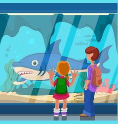 Cartoon color characters people and oceanarium vector