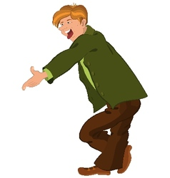 Cartoon man in green jacket showing tongue vector