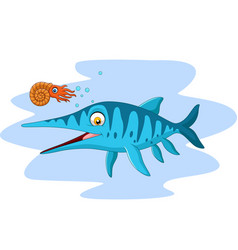 cartoon smiling ichthyosaurus and nautilus vector image