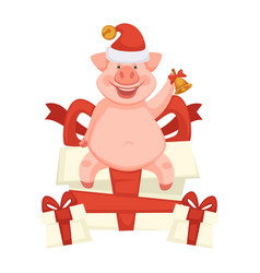 celebration pig piglet symbol of new year and vector image