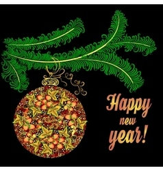 Christmas ball in Khokhloma-style on a brunch of vector image