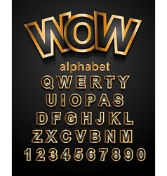 Christmas Golden Alphapet Font to use for vector