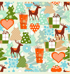 christmas pattern reindeers and gifts vector image