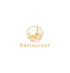 circle outline restaurant logo design food drink vector image