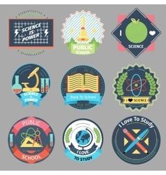 Color vintage school emblems set vector image