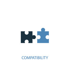 compatibility concept 2 colored icon simple blue vector image