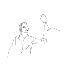 Continuous one line woman evaluates wine in a vector