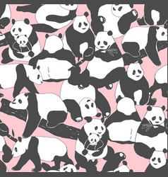 cute panda bear seamless pattern textile vector image