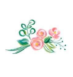 cute spring watercolor flower bouquet art vector image