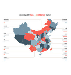 Detailed map of china template for vector