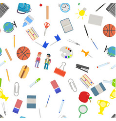 Different school objects in good seamless pattern vector