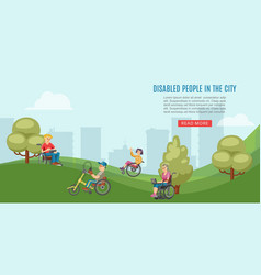 disabled people in city park handicapped invalids vector image
