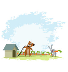 Dog and hare vector
