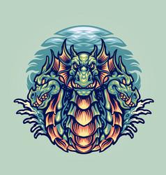 dragon hydra character mascot vector image