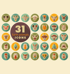 Farm animals flat icons set head vector