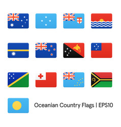 flags oceania icons set vector image