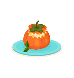 Flat icon of persimmon stuffed with ice vector