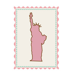 Frame with silhouette of statue of liberty vector