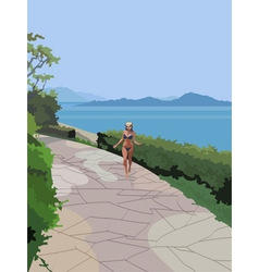 Girl in a swimsuit on the coast vector