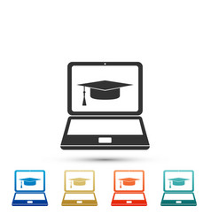 graduation cap and laptop icon on white background vector image