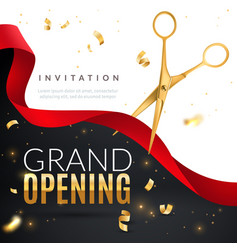 Grand opening golden confetti and scissors vector