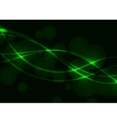 Green wave circle background vector image