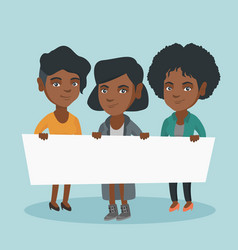 Group of young women holding a white blank board vector