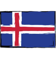 grunge iceland flag or banner vector image