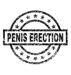 Grunge textured penis erection stamp seal vector