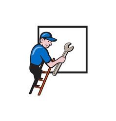 Handyman climbing ladder window cartoon vector