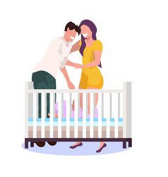 happy couple parents standing near baby crib vector image
