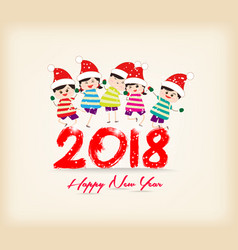 happy new year 2018 with kids funny vector image