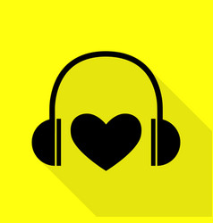 headphones with heart black icon with flat style vector image