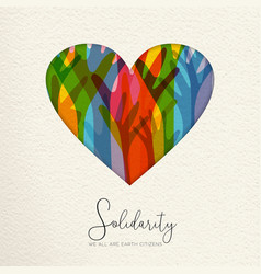 human solidarity day card of hands united in heart vector image