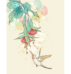Humming-bird and flowering branch vector