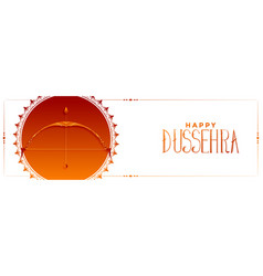indian happy dussehra occasion banner with bow vector image