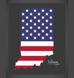Indiana map with american national flag vector