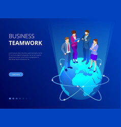 isometric business team business people concept vector image