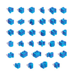 isometric russian alphabet in blue color top view vector image