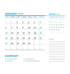 january 2019 week starts on sunday calendar vector image