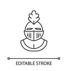 Knight helmet linear icon vector