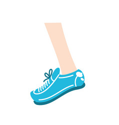 Leg with sport sneaker to practice exercise vector