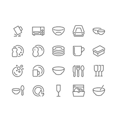 Line Dish and Plates Icons vector