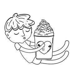 little boy with ice cream kawaii character vector image