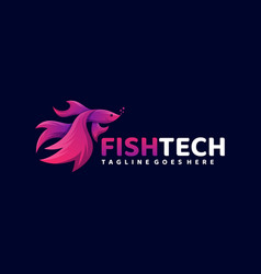 Logo fish tech gradient colorful style vector