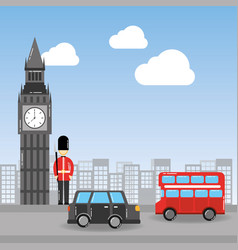 London big ben soldier decker bus and taxi urban vector