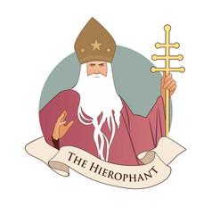 major arcana emblem tarot card the hierophant vector image