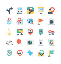 Map and navigation colored icons 1 vector