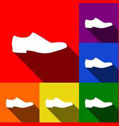 Men shoes sign set of icons with flat vector