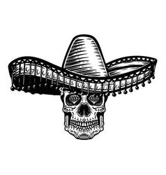 Mexican sugar skull in sombrero day dead vector